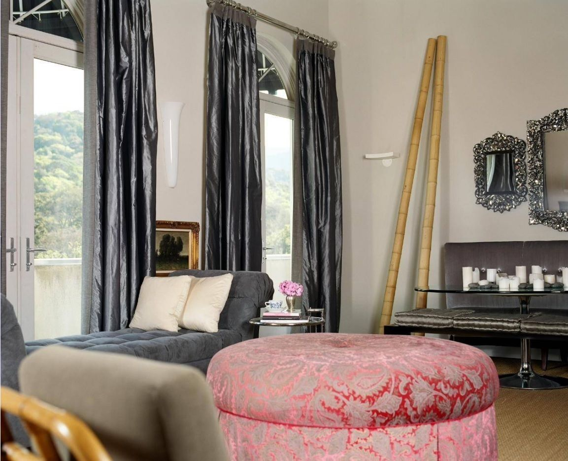 Front Room Furnishing & Design Ideas. Unusual upholstered furniture forms for the room with black curtains