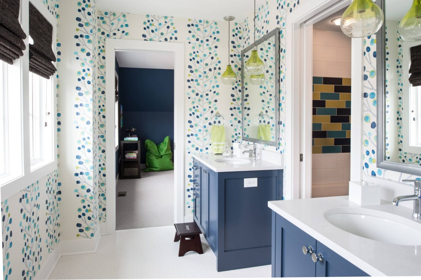 Jack and Jill Bathroom Interior Design Ideas. Spotty green & white design of the Classic colorful decorated bath with deep blue vanity stands