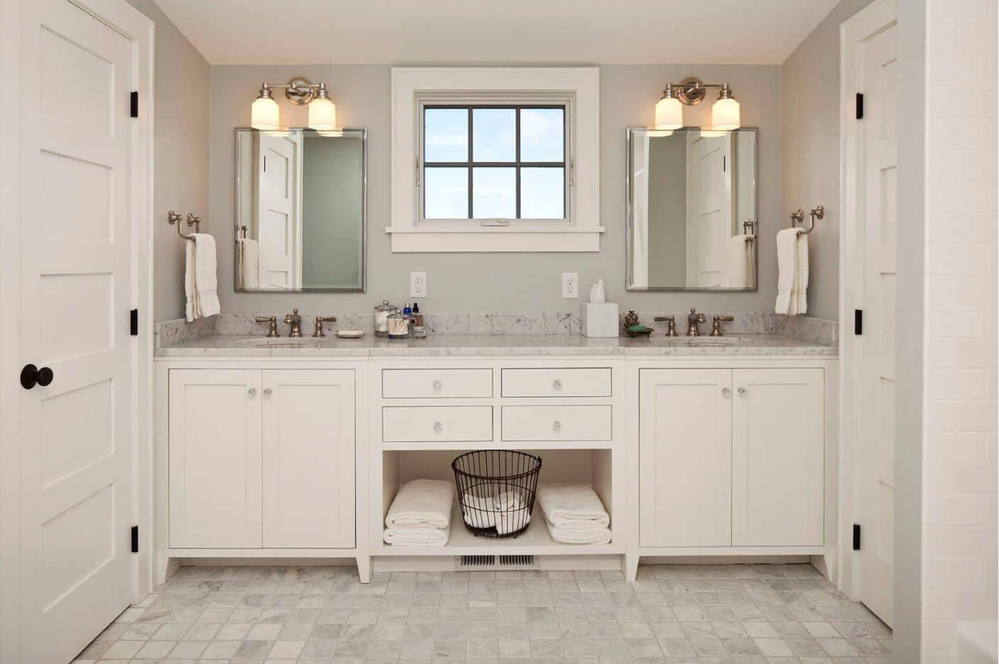 Jack and Jill Bathroom Interior Design Ideas. Creamy white color scheme and the monolith vanity with two sinks and storage