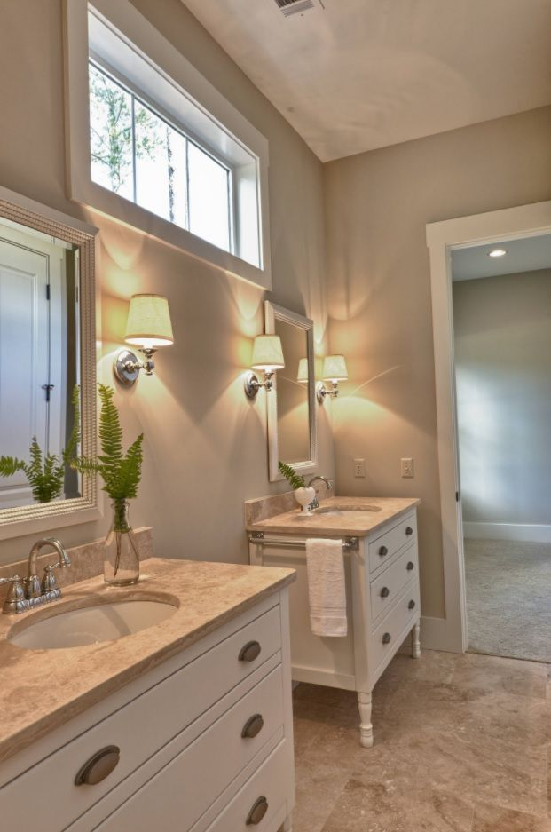 Jack and Jill Bathroom Interior Design Ideas. Two separate sinks in the mild gray space