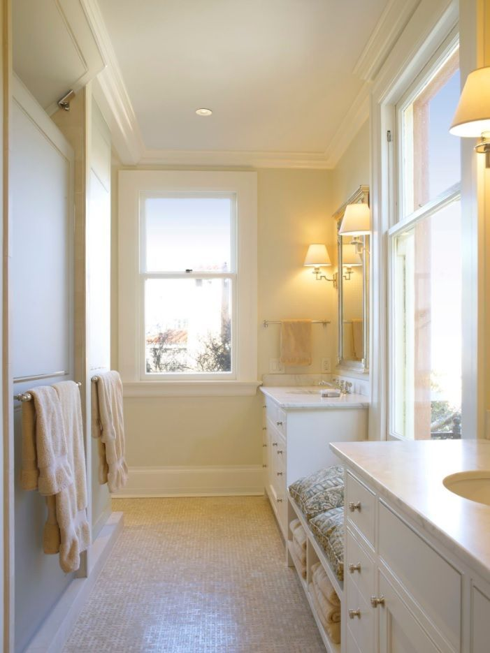 Jack and Jill Bathroom Interior Design Ideas. Initimate artificial lighting of lamp with yellowish tint