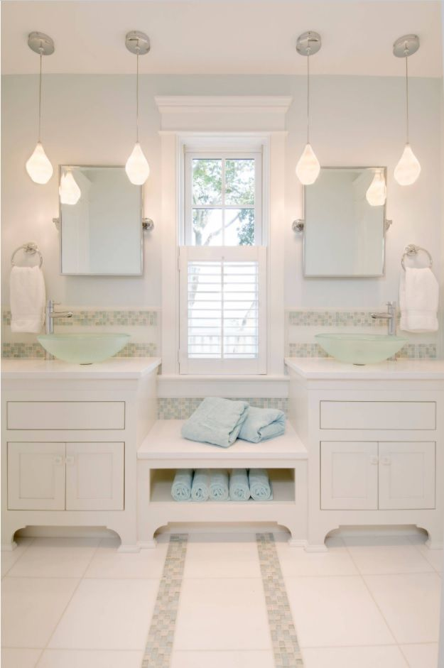 Jack and Jill Bathroom Interior Design Ideas. Totally white Classic space with vanitites and storage for douple up sets