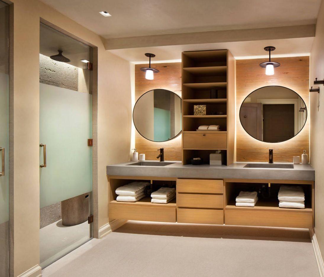 Splendid modern styled Jack and Jill layout bathroom with mirror backlight