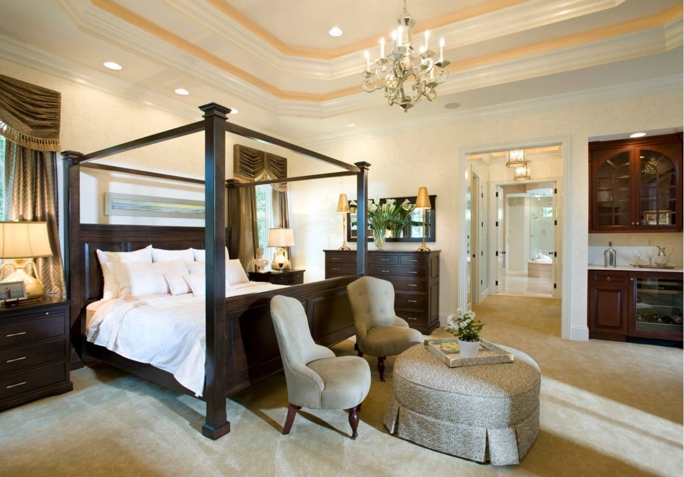 15+ Top King Bedroom Furniture Set Ideas. Complete wooden canopy frame for the pumpous luxury decorated bedroom