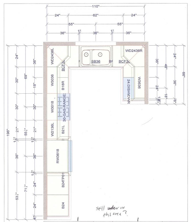 Detailed All-Type Kitchen Floor Plans Review. L shaped kitchen design plan for open layout apartment or house