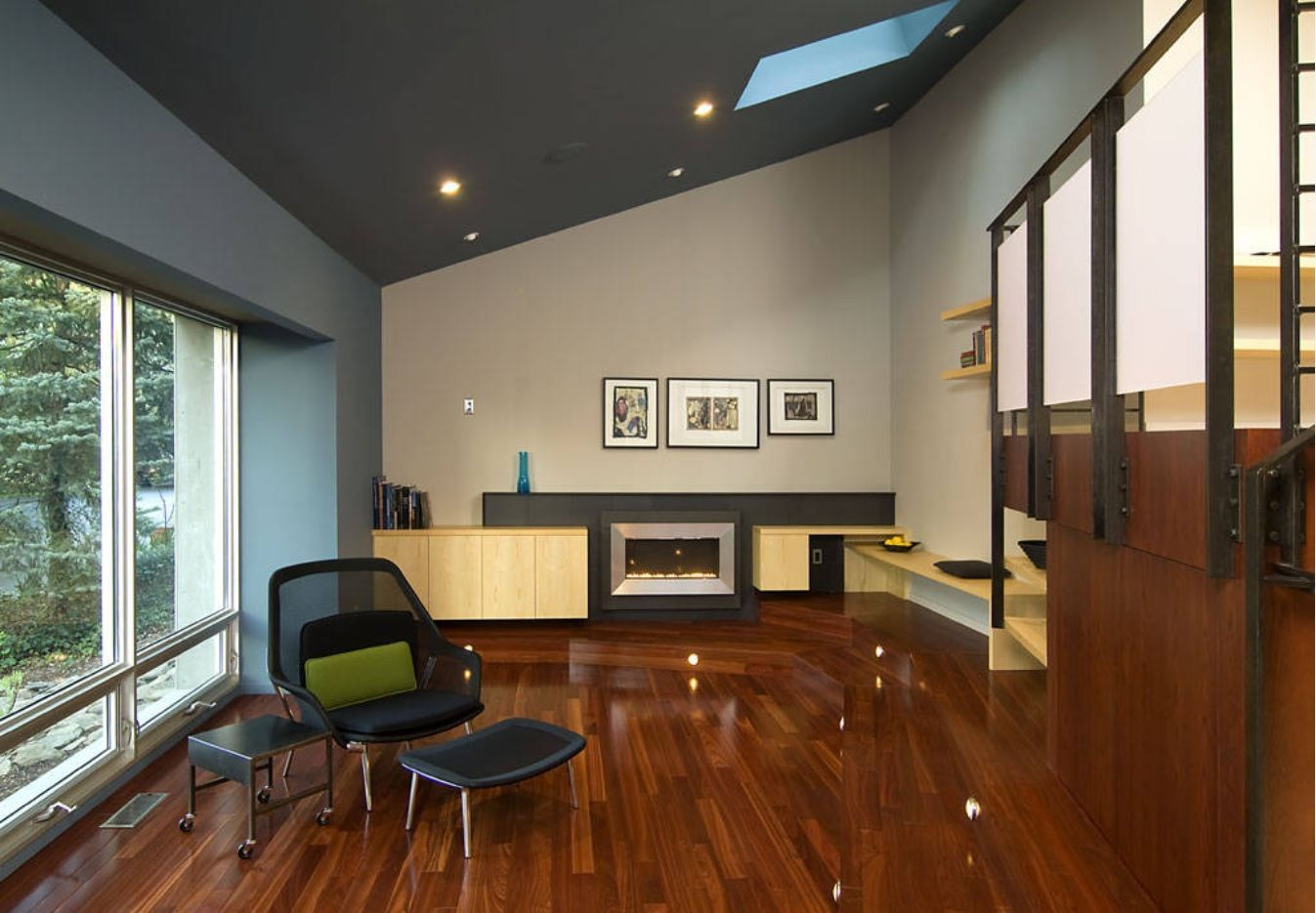 15+ Living Room Lounge Decoration Photos. Dark ceiling slant in the modern loft styled room with dark glancing wooden floor
