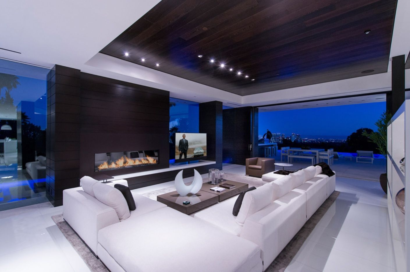 Grandeur futuristic lounge room interior design with white and black color mix and multilevel accentual ceiling