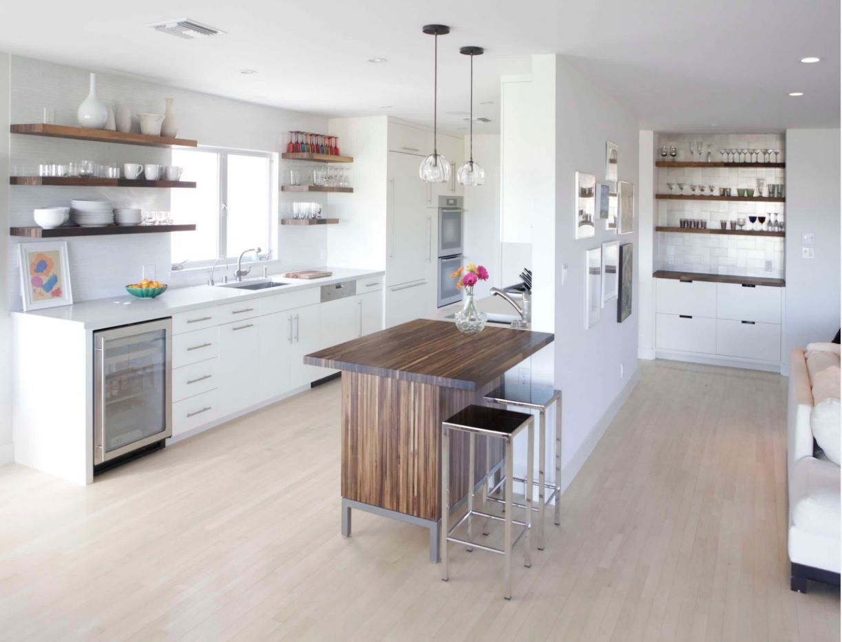 Open Kitchen Design & Interior Decoration. Snow white combining of cooking and living zones