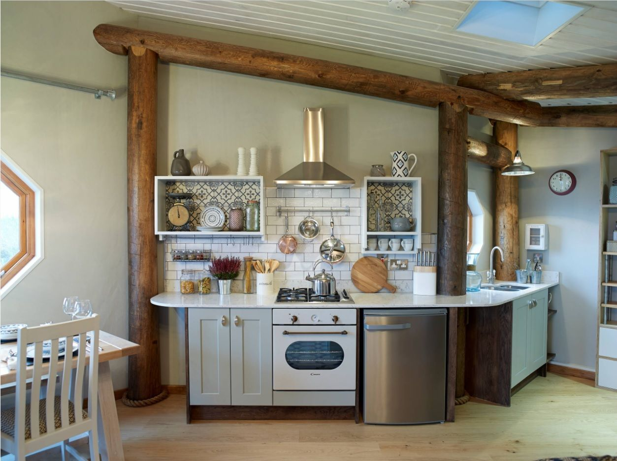Open Kitchen Design & Interior Decoration. Simple and successful Rustic style for small cooking zone