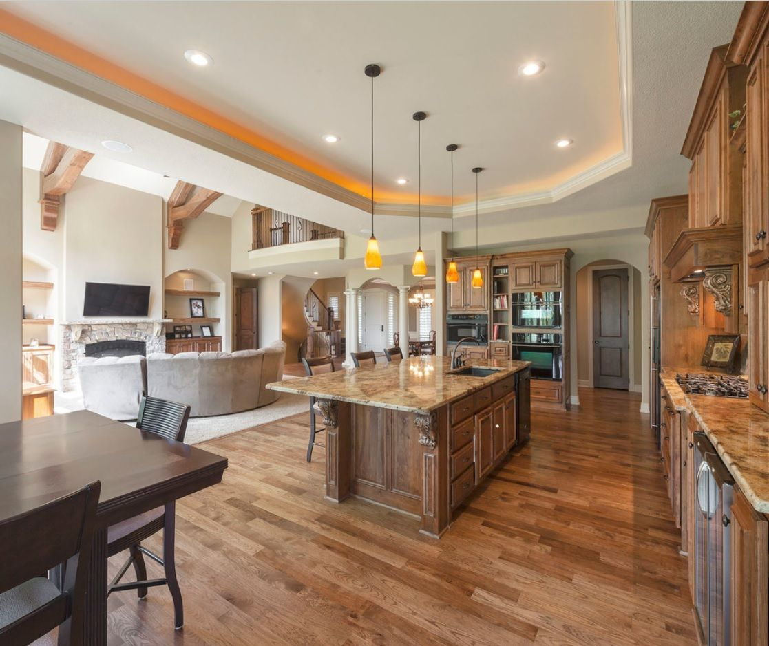 Open Kitchen Design & Interior Decoration. Natural materials in brown color scheme for large room