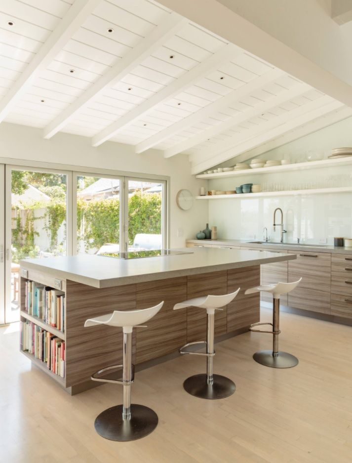 Open Kitchen Design & Interior Decoration. Slanted white ceiling with open beams for Modern styled room