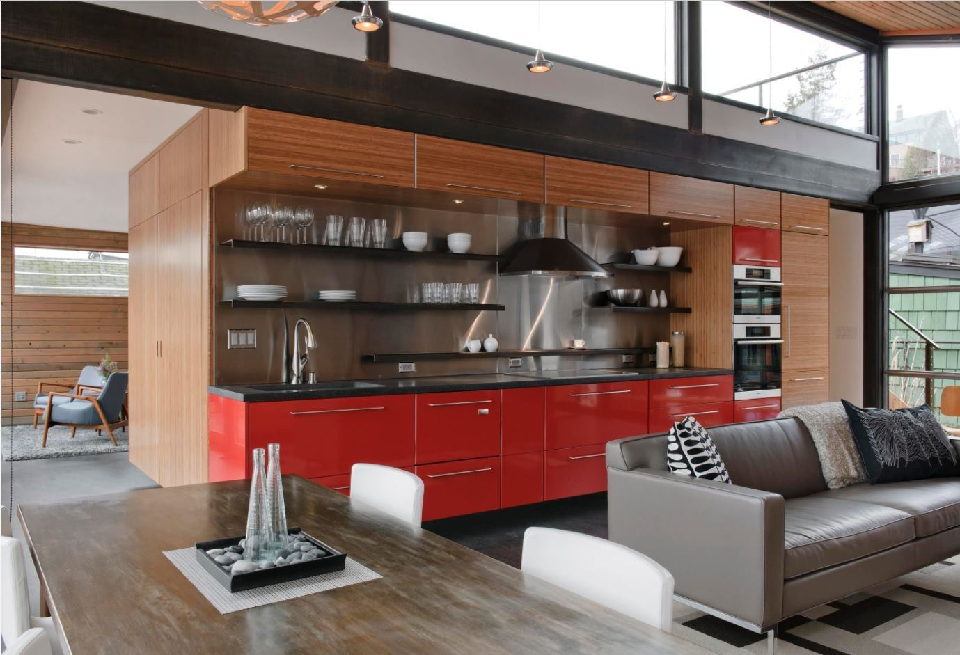 Open Kitchen Design & Interior Decoration. Two-leveled house with panoramic windows at the top windows of double-ceiling