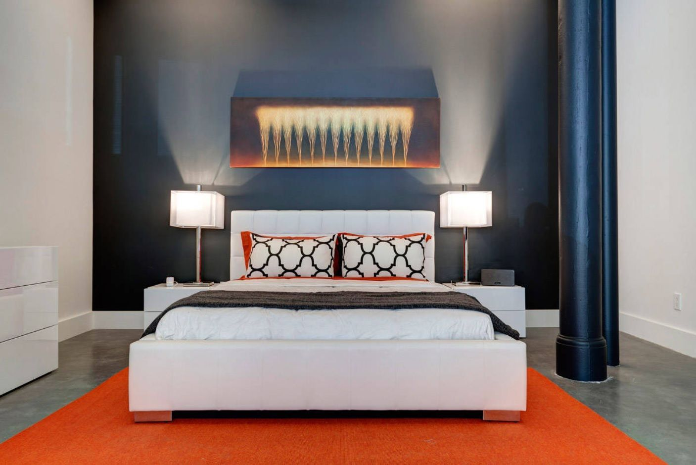 15 Most Topical Modern Queen Bedroom Furniture Set Ideas. Dark colored accent wall at the headboard