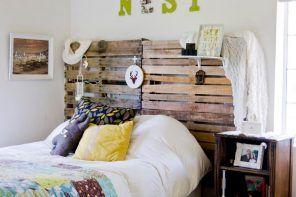Spectacular Shabby chic bedroom interior with DIY wooden headboard