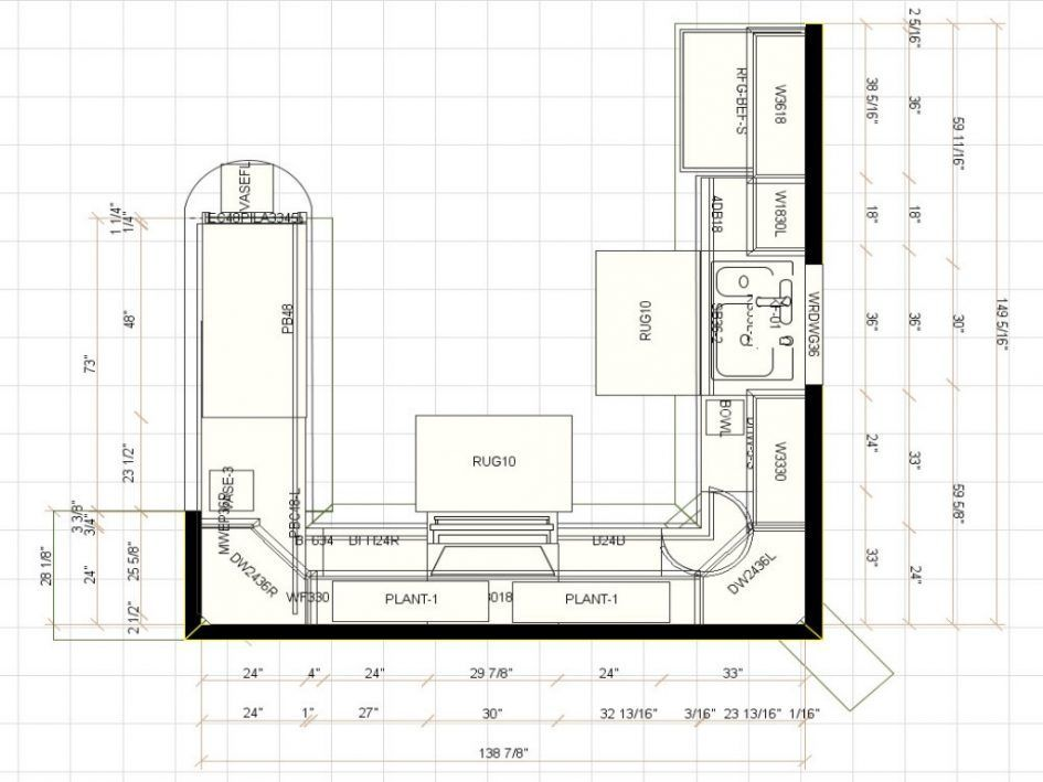 Detailed All Type Kitchen Floor Plans Review. Modern G Shaped Variant Sketch