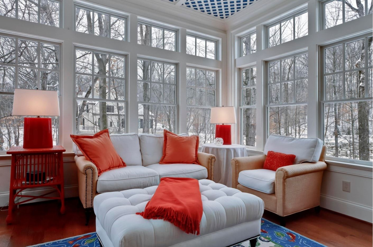 Winter outside view from the white and orange color mixed Classic interior