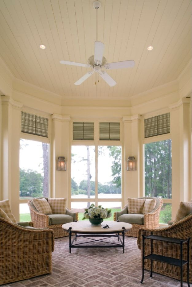 Bay window in the white matted color painted interior of Casual American style