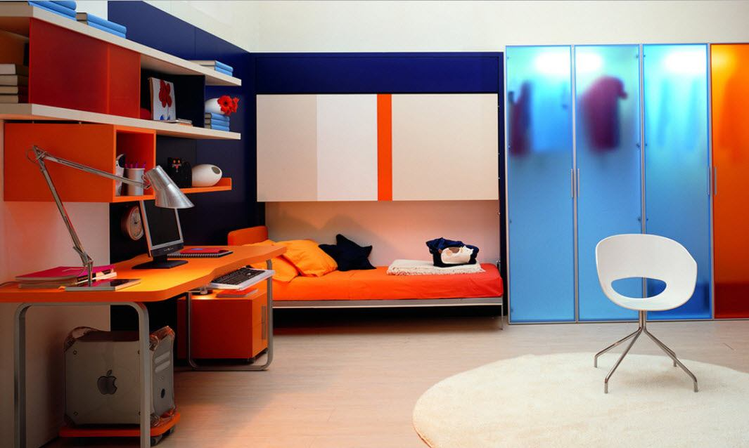 Orange sleeper in the modern personal room for youth