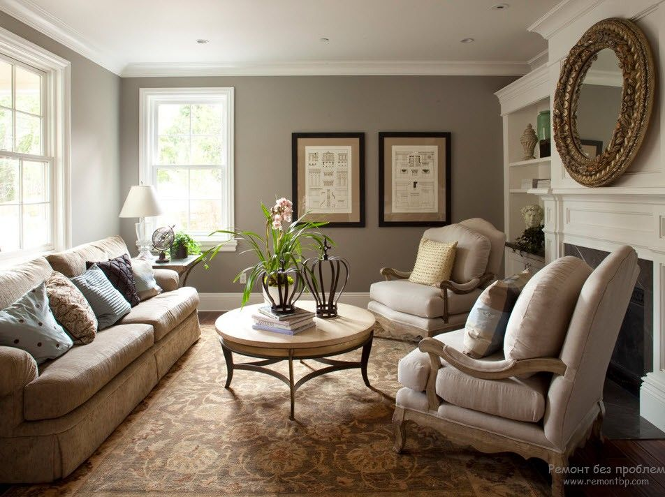 Neat gray coloring for the chic Classic room with upholstered furniture