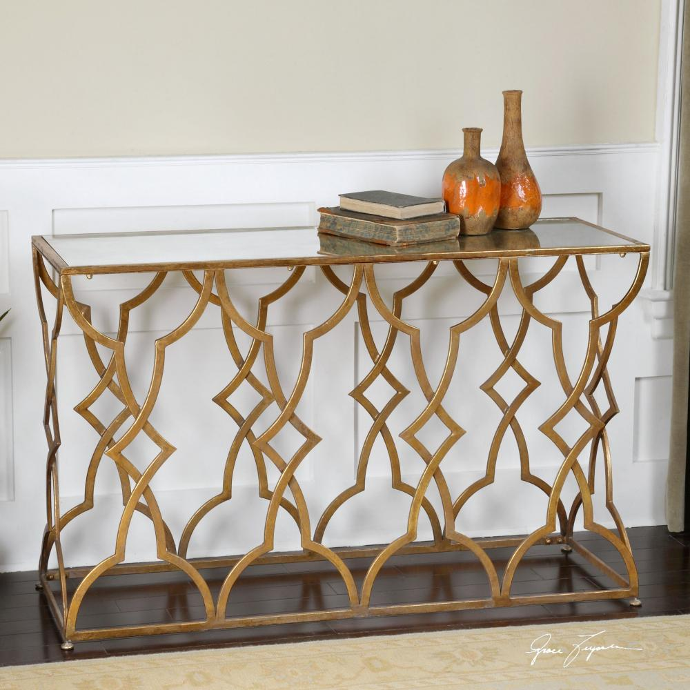 Glass Panel Table with Golden Finish