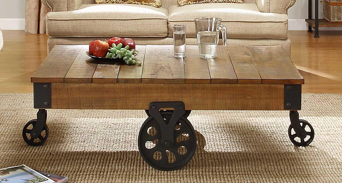 Rustic Coffee Table on Wheels
