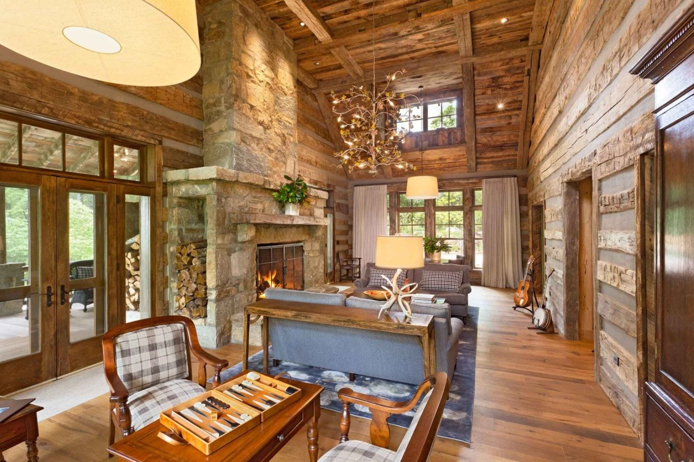 All-wooden private mansion interior with stone oven