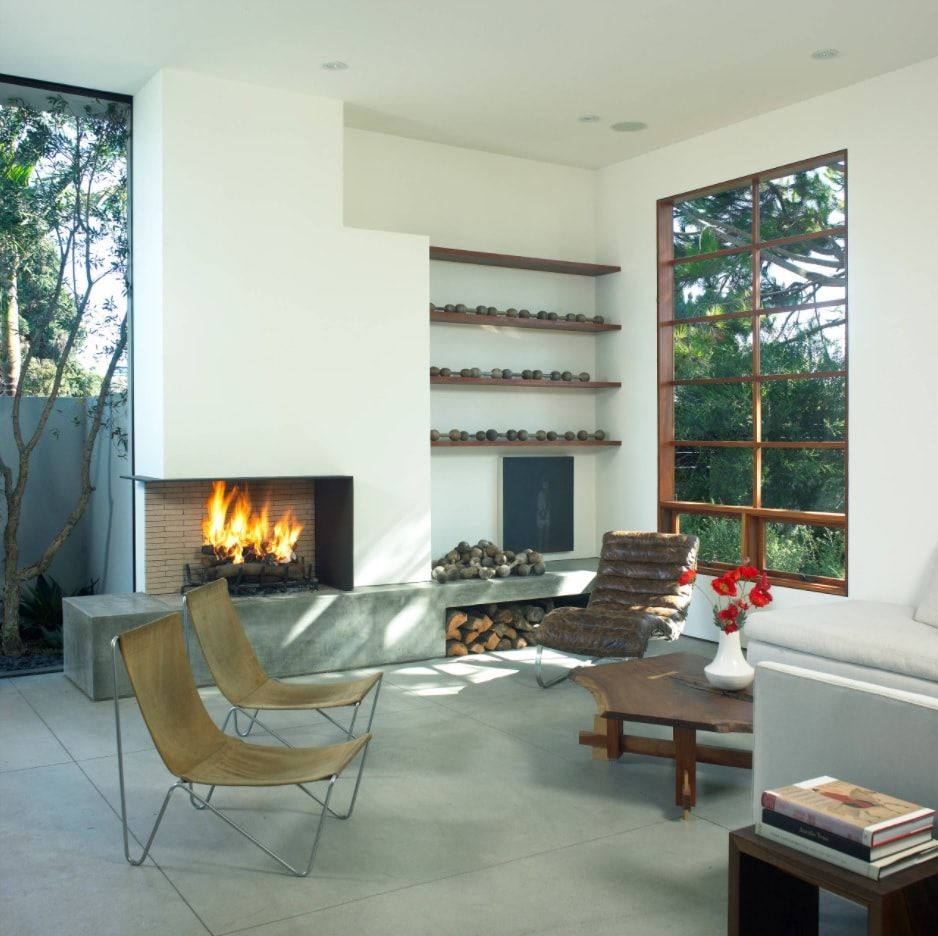 Matte white interior of the Eco minimalsitic styled living with large windows