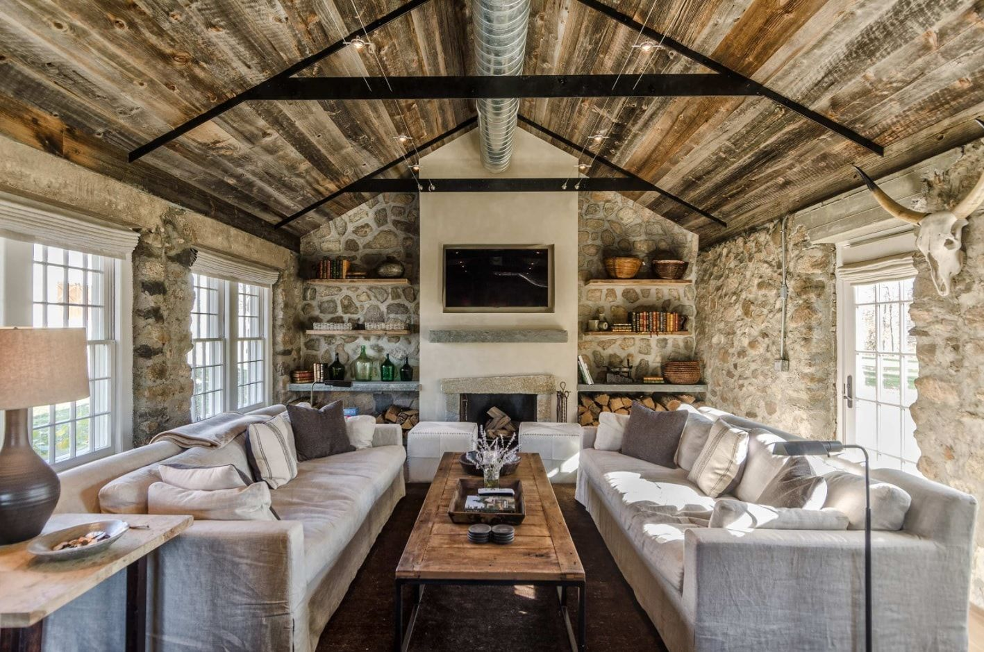 Industriality in the suburb house with stone walls