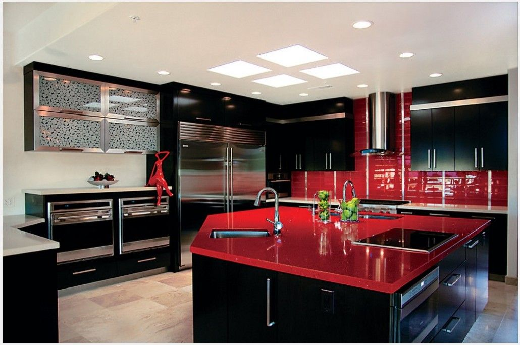 Red and black striking combination on the modern kitchen