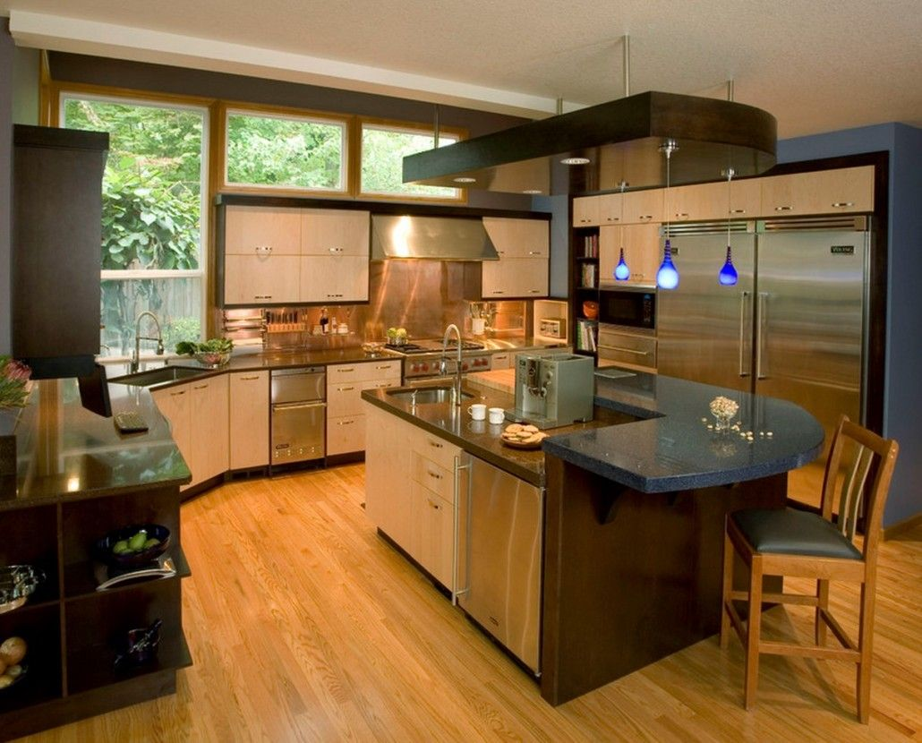 Natural wooden laminate and the multifunctional kitchen island in the center