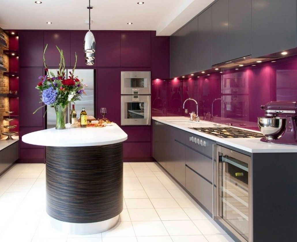 Dark crimson color scheme for the kitchen with dark furniture set facades