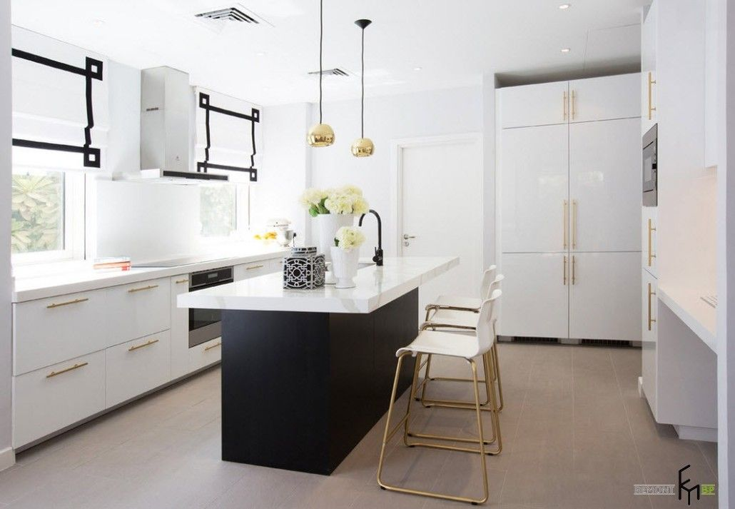 Black and white kitchen island for contemporary design