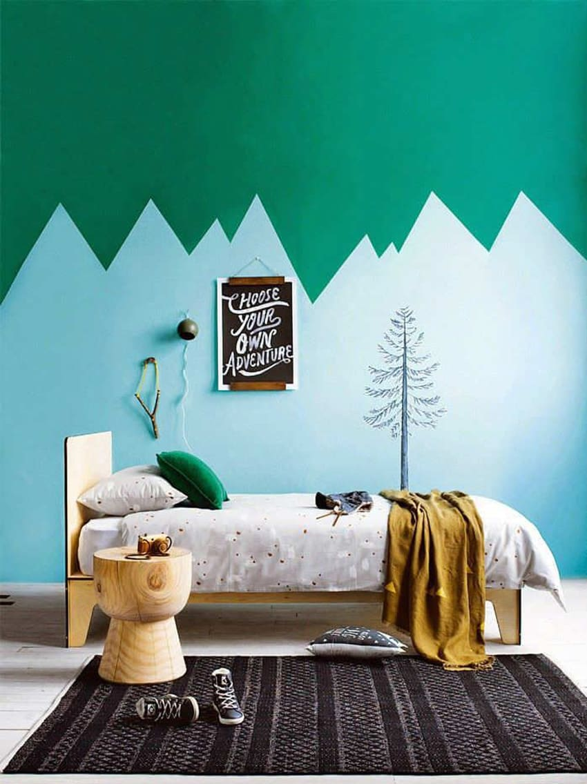 Mountain landscape imitation in the ascetic kids' room