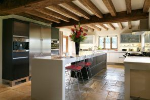 Cute open ceiling beams idea for the modern large kitchen