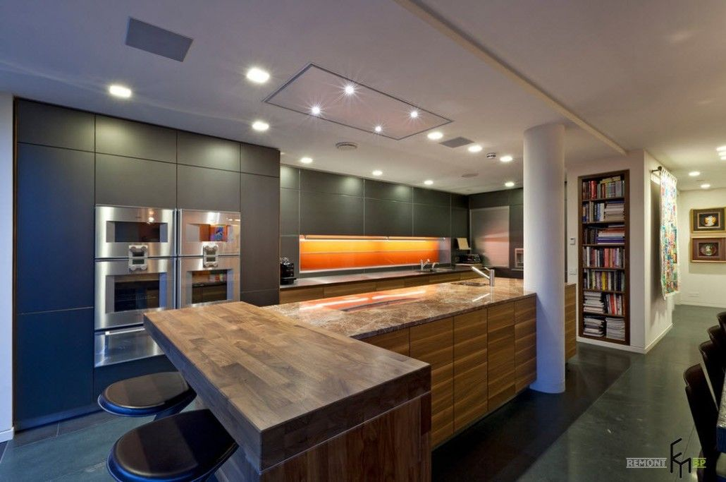 Complex LED lighting system for the pompous modern kitchen with arch