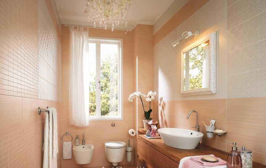 Peachy colored juicy bathroom