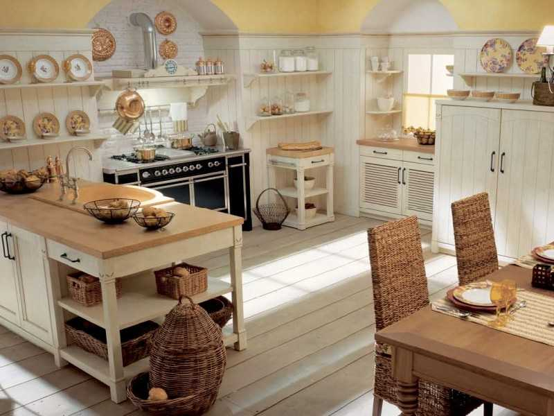 Rustic Italian interior style for the natural light lit kitchen