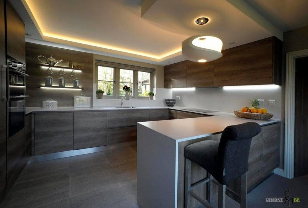Ultramodern kitchen design with synthetic glossy materials and complex LED backlighting