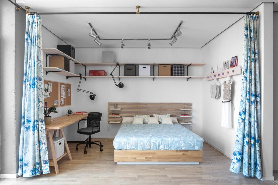 Loft style for the white painted students' bedroom