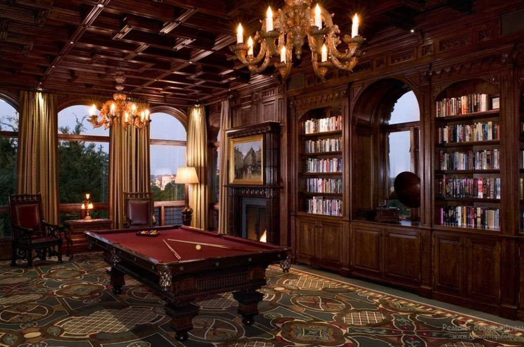 Massive wooden trimming for the billiards room of the modern country house