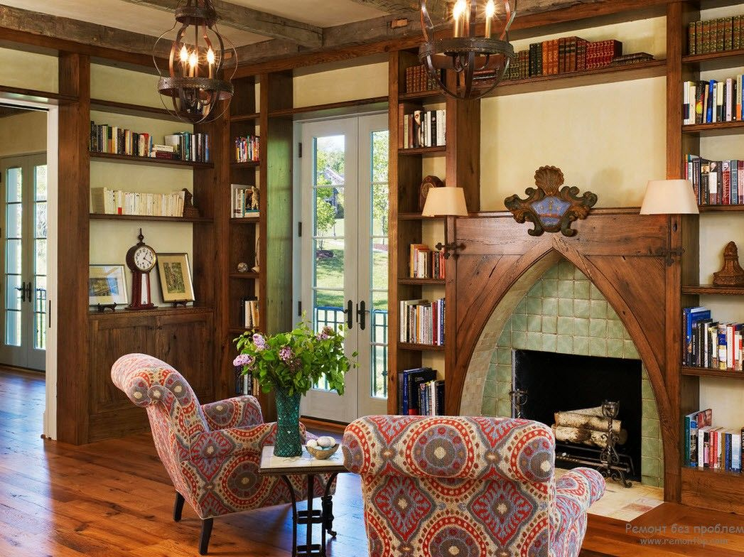 Lightweight Gothic style for the mid sized living room of the private house