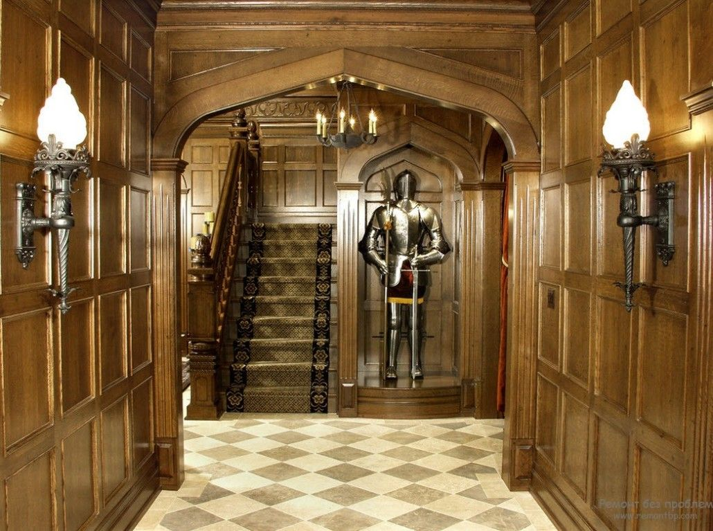 Noble brown tint at the castle-like hallway with knight armor