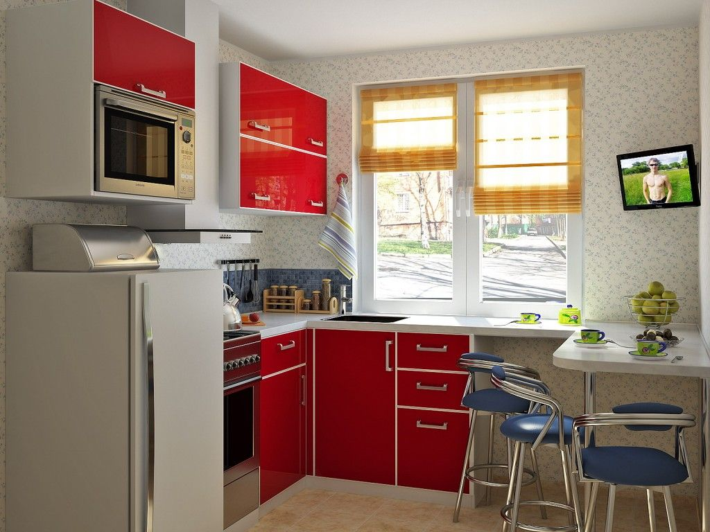 Red l-shaped kitchen with maximum utilized space