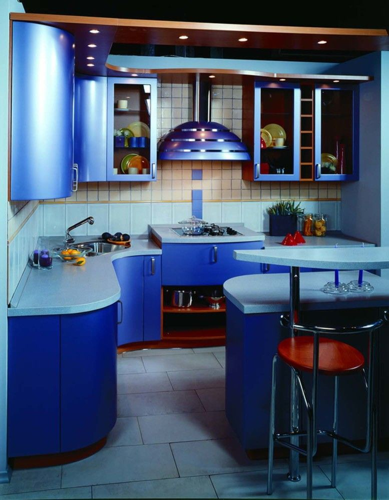 Blue color for the figured design of the hi-tech kitchen