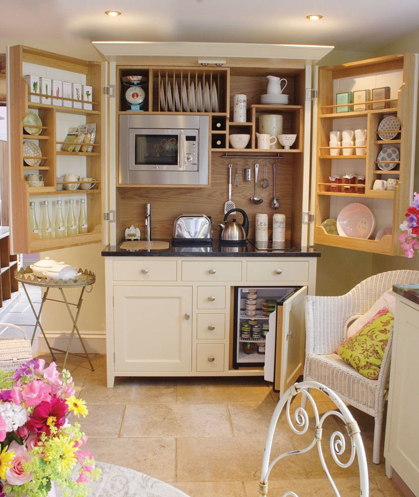 Foldable cabinets at the Rustic styled kitchen