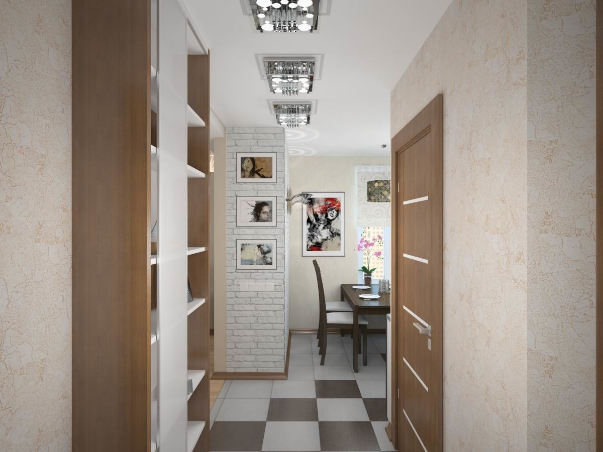 Modern small kitchen interior model in light tones