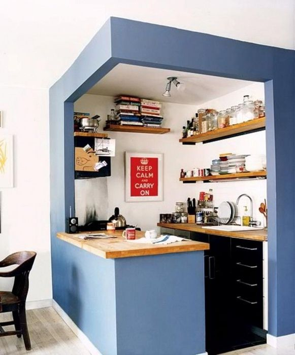 Blue color to emphasize for the modern kitchen zone