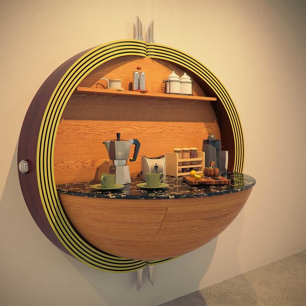 Unusual semispheres in the form of shelf