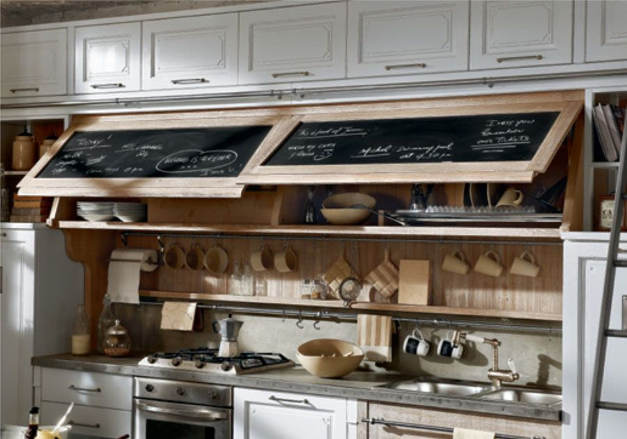 30 Ideas on Transforming Small Kitchen into Comfortable Cooking Place. Nice idea of chalk board built in to the kitchen facade
