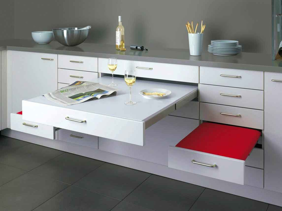 Retractable dining table from the kitchen furniture set